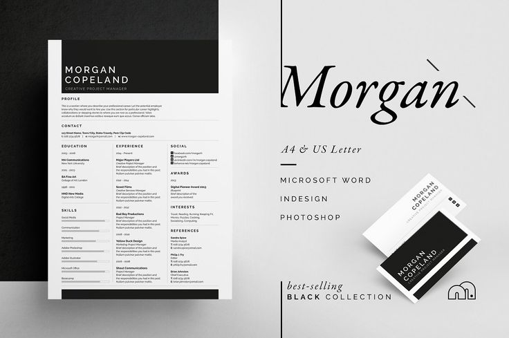 Resume/CV - Morgan - Resume template - Introducing 'Morgan', a unique three column design with plenty of room for your profile, experience and skills. Including a single page resume/cv and cover letter.