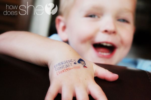 Awesome idea...temporary tattoo with Mom's cell phone number on it, for outings...