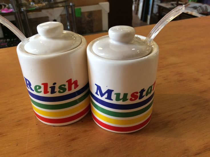 Relish and mustard... red green yellow and blue...made in tawain by ConsignmentClassics on Etsy