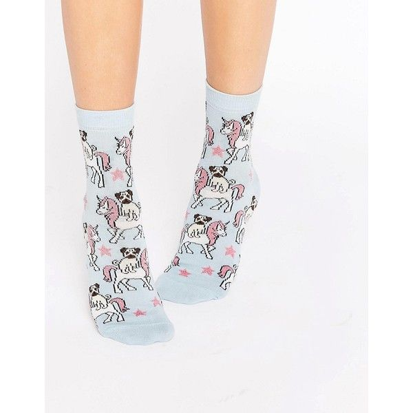 ASOS Pug Riding Unicorn Ankle Socks (68.100 IDR) ❤ liked on Polyvore featuring intimates, hosiery, socks, blue, blue ankle socks, ankle socks, asos socks, blue socks and short socks