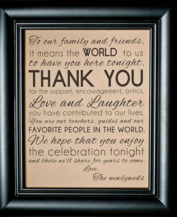 Thank You Sign For Wedding Gift Table : INSTANT DOWNLOAD8 10 Thank You Family Friends Wedding SignDIY ...