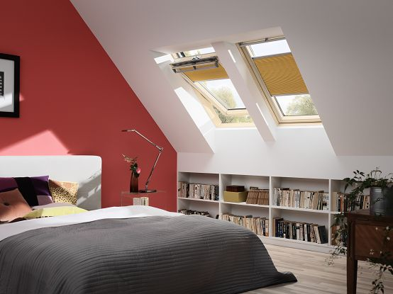 Storage and sloping walls can be a tricky combination; an idea is to use the knee wall under the #roofwindows for book shelves or cupboards! Check out new colors for your bedroom #blinds here: http://www.velux.com/products/be_inspired/blinds%20gallery/bedroom
