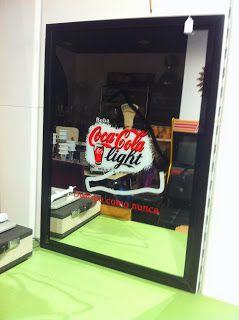 decoración vintage, antiguitats-baraturantic: espejo cocacola vintage