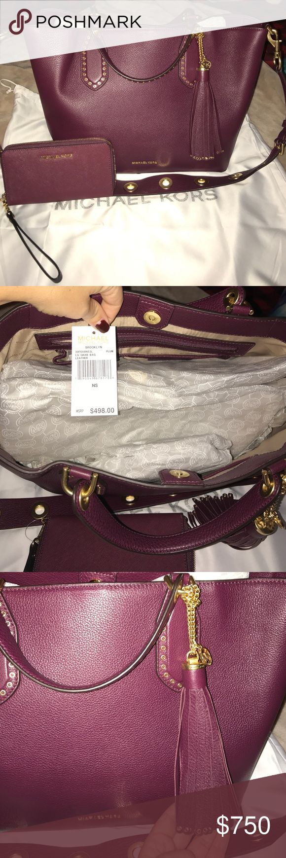 NWT Michael Kors Brooklyn large plum bag & wallet New with tags, SOLD OUT, Gorgeous bag and wallet. 100% authentic Michael Kors. Plum color, impossible to find. Gold grommet details, adjustable and detachable shoulder strap. Bag $498, wallet $108. Dust bag included. No trades and price is firm as this item is rare and HTF. Michael Kors Bags Shoulder Bags