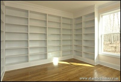 Here's a great study/home library idea. Turn over two walls into floor-to-ceiling book shelves, and full the room with natural light with a full wall of windows.