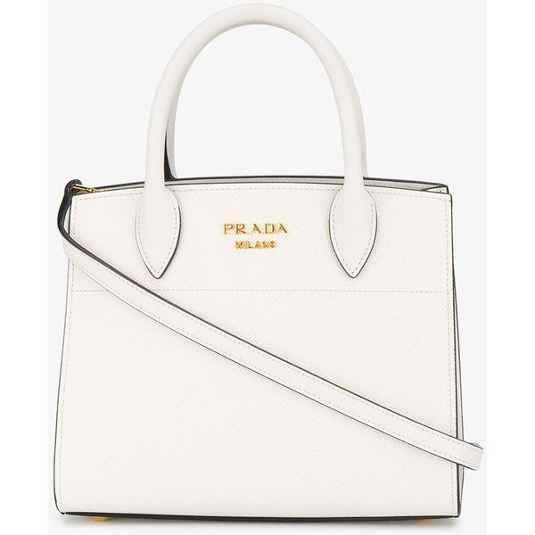 Prada Mini Bibliotheque Tote With Contrast Side Panel ($2,155) ❤ liked on Polyvore featuring bags, handbags, tote bags, handbags totes, white leather tote bag, prada tote bag, mini tote bags and leather handbag tote