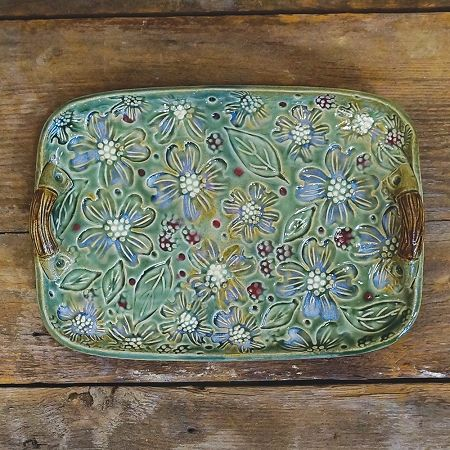 Dogwood Tray - an example of the beautiful long-time North Carolina Pottery tradition ... Bluegill Pottery created this stoneware pottery   from Our State Magazine