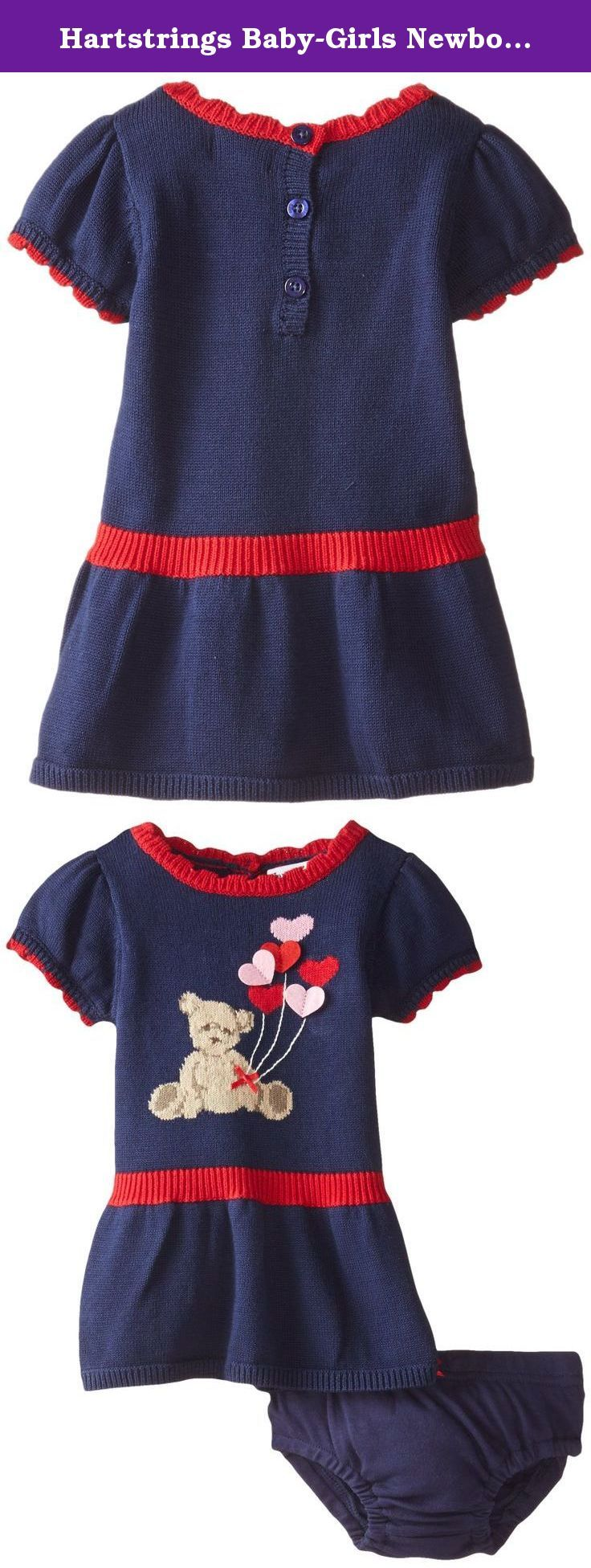 Hartstrings Baby-Girls Newborn Bear Sweater Dress and Panty Set, China Blue, 6-9 Months. Baby girls cotton sweater dress and diaper cover set.
