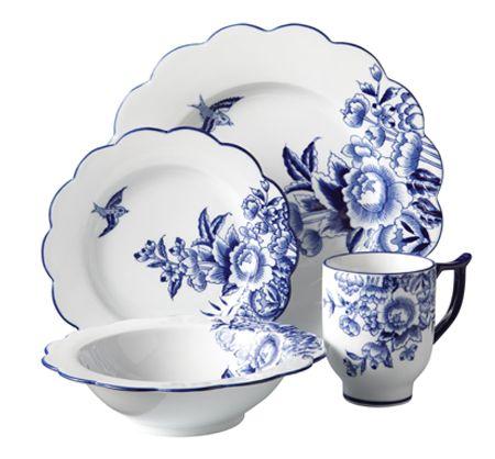 Ay Co Inc Blue White Fl Dinnerware