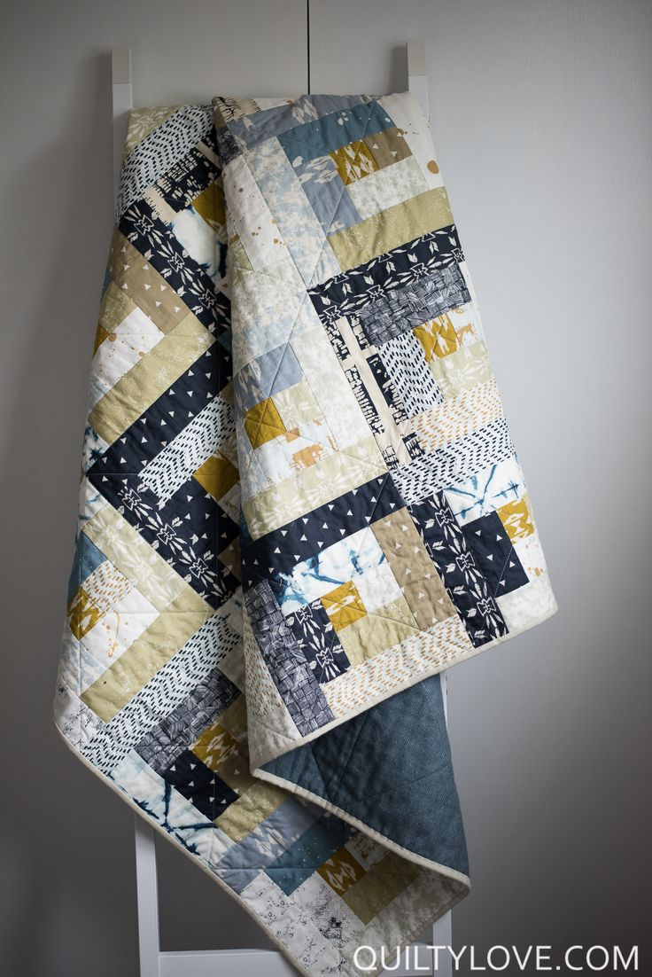 Quilty Love | Observer Log Cabin Quilt | http://www.quiltylove.com Scrappy Log Cabin Quilt made using Art Gallery Fabrics.
