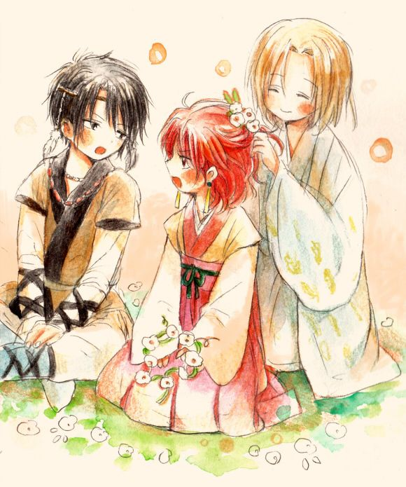 Akatsuki no yona !! C'est aussi un très beau manga !!  (Dans l'ordre) Hak, yona, soo-won.
