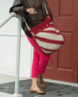 Diagonal Stripes Messenger Bag, crochet pattern by Underground Crafter for sale on Ravelry | This messenger bag is a great introduction to Tunisian crochet. Learn the Tunisian Simple Stitch while increasing, decreasing, and changing colors. The asymmetric