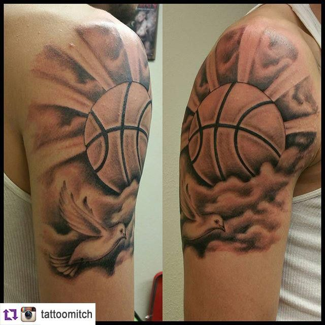 cool Top 100 Basketball Tattoos - http://4develop.com.ua/top-100-basketball-tattoos/ Check more at http://4develop.com.ua/top-100-basketball-tattoos/