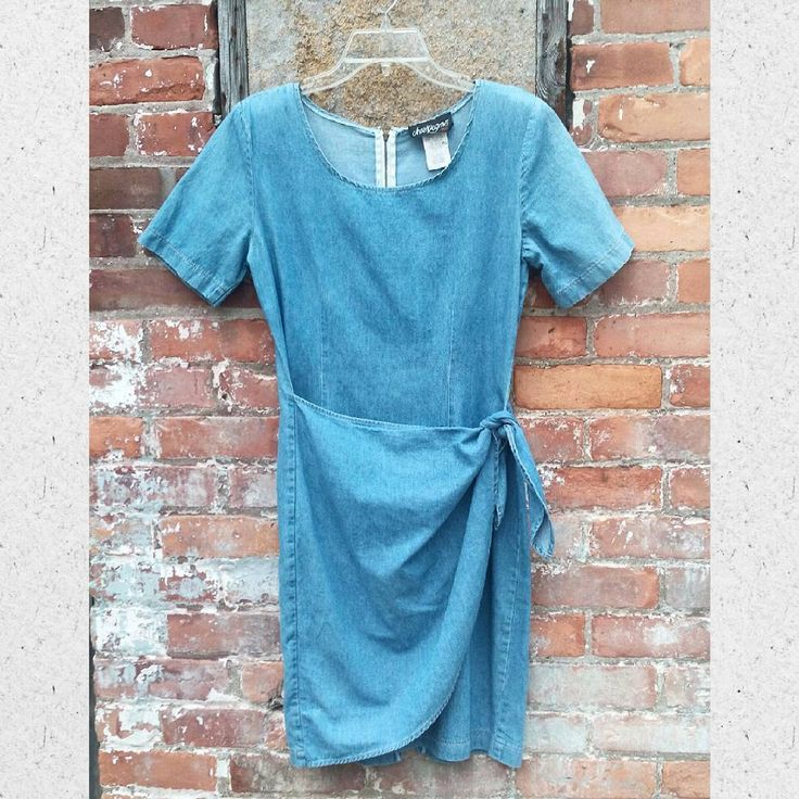 "31 Likes, 2 Comments - Roly Poly Records & Vintage (@rolypolyrecords) on Instagram: ""#90s #denim #sarong wrap dress, M with an #oversized fit.  Adjustable waist ties.  #1990s #dress…"""