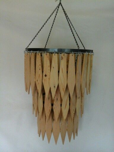 Handmade wooden rustic drop chandelier - beautiful !