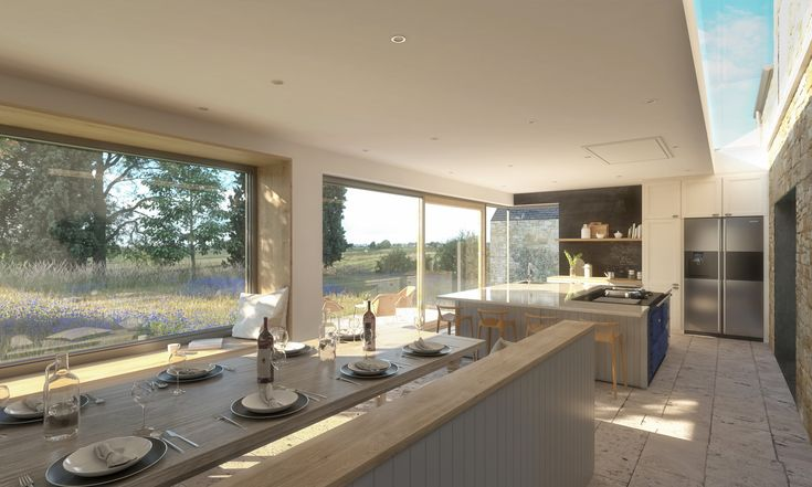 Open plan kitchen dining for a flat roof extension in Northumberland  #interiordesign #kitchen #openplan #diningarea #skylight #architecture #greatspacearchitects