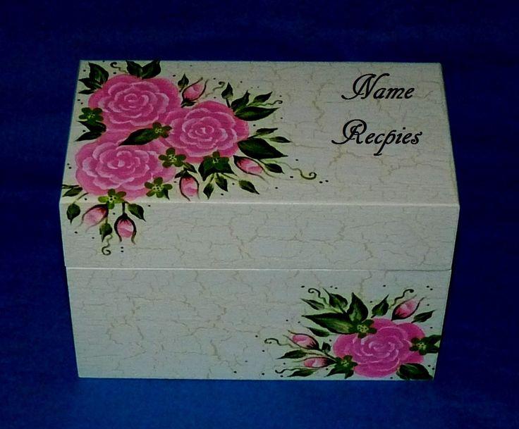 Custom Recipe Box Hand Painted Roses Personalized Wood Recipe Box Heirloom Wedding Recipe Card Box 4x6 Bride Advice Box Bridal Shower Gift by EssenceOfTheSouth on Etsy