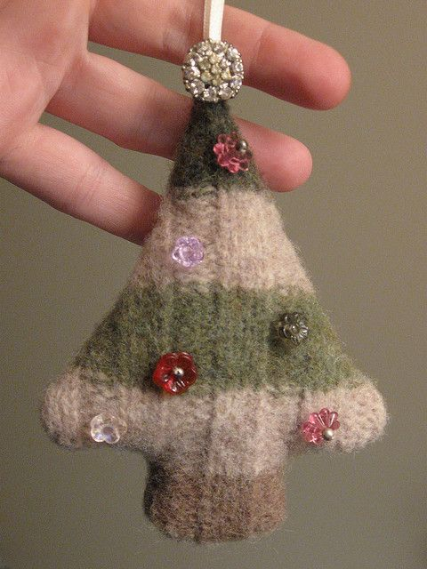 Upcycled felted wool sweater Christmas tree for WIST 2009 Ornament Swap