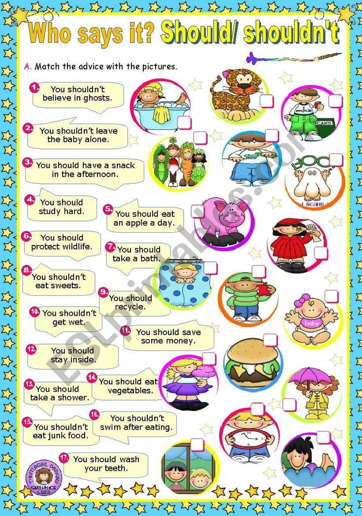 Who says it? Modal Verbs (2) Should/ shouldn´t