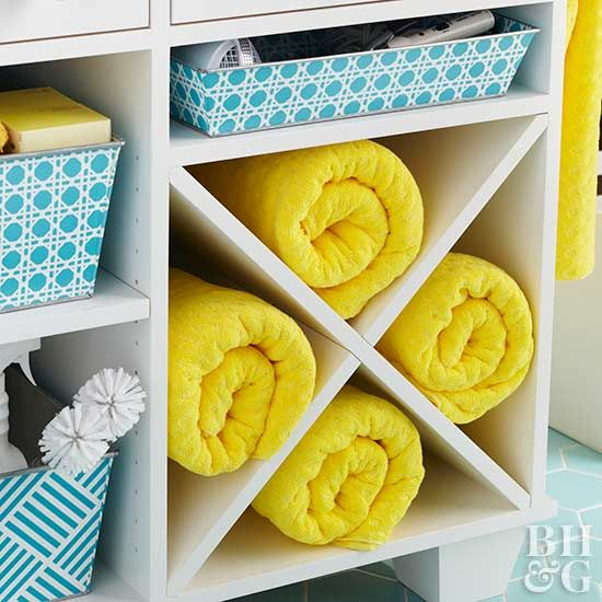 towel storage, towels, yellow towels