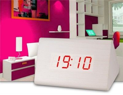 Wood Design Desktop or Bedside Cabinet Clock with Voice Control Function (White)
