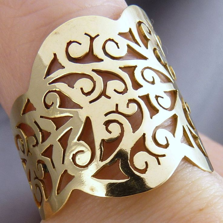 BRASS * SilverSari JALI LOTUS Ring * Hand-crafted by Silversmiths * FREE SIZE