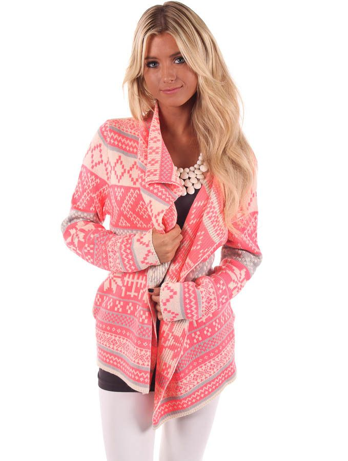 Lime Lush Boutique - Neon Pink Nordic Patterend Cardigan, $64.99 (http://www.limelush.com/neon-pink-nordic-patterend-cardigan/)
