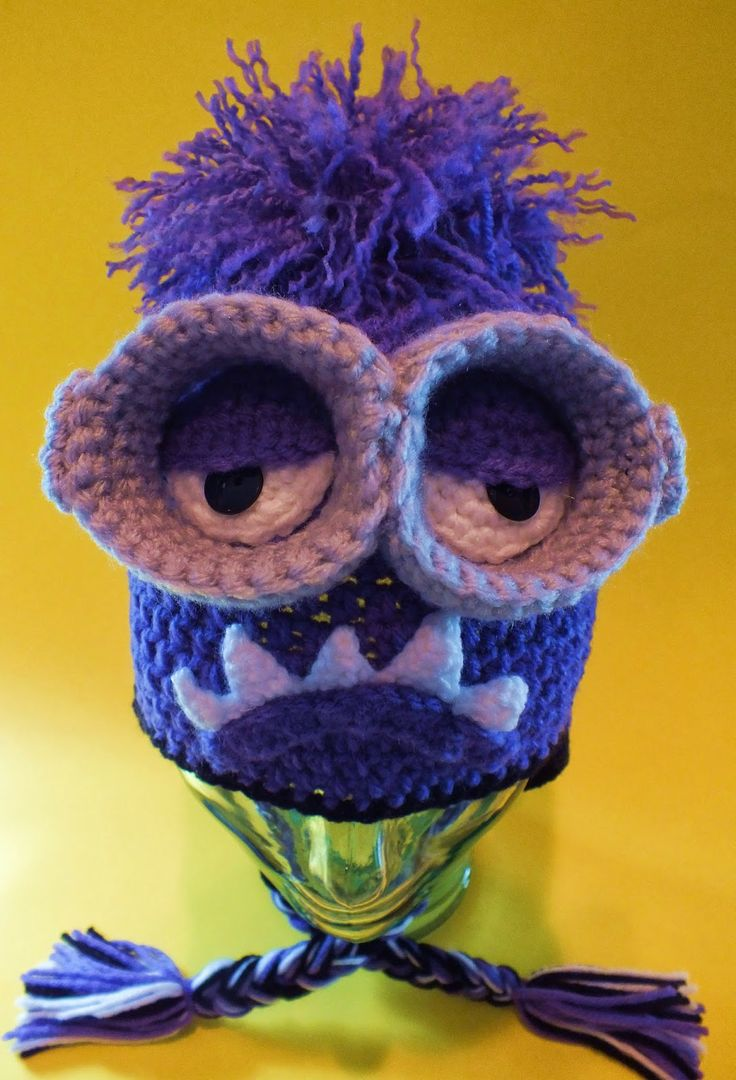 """Minion Purple Monster Hat Pattern©"" This is the perfect hat for the kids Easter Basket's and this hat pattern is only $1.00 Read more at http://spotconnie.blogspot.com/2014/03/minion-purple-monster-hat-pattern.html#bd8o28H1xdyqLKy3.99"