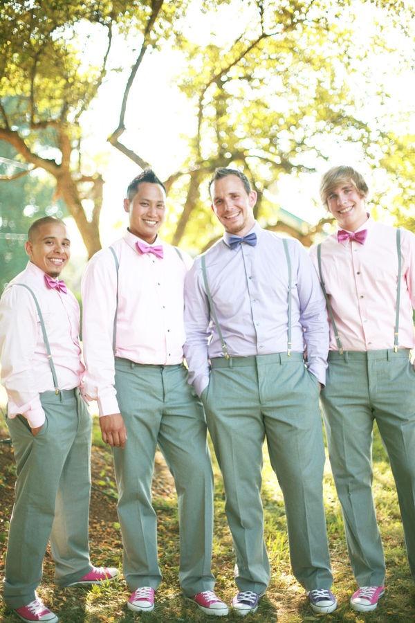 men's wedding attire... Non traditional light green pants & suspenders & bow ties