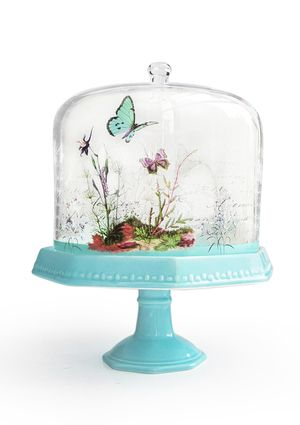 JAY COMPANIES Notions Blue Butterfly Pedestal Plate with Dome
