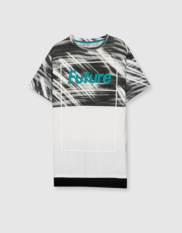 Pull&Bear - hombre - camisetas - camiseta print texto -future- - blanco…