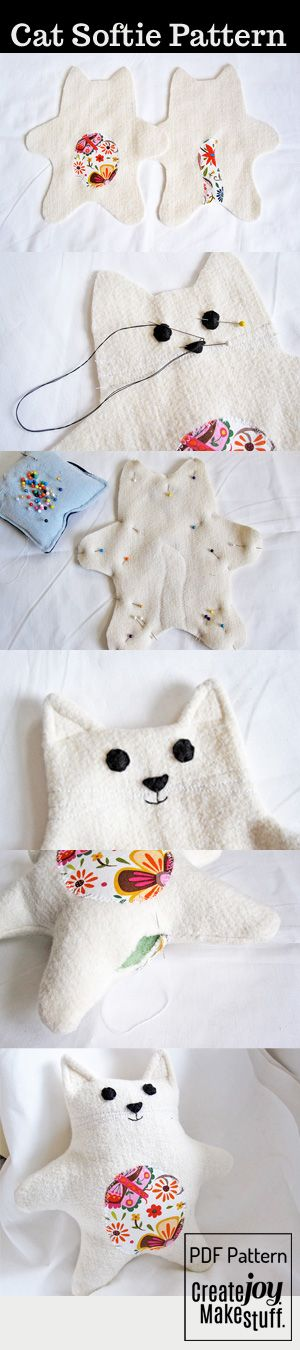 Baby Cat Softie doll - a super simple and soft friend to make - sewing - https://www.etsy.com/ca/listing/96274841