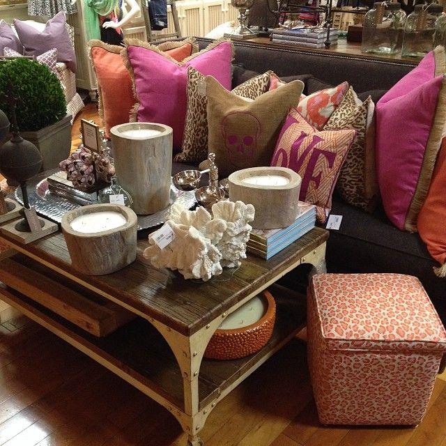 pretty in pink | @lacefielddesigns  #pink #orange #prep #shoplocal #shopjuxtapose #print #cheetah #shoplocal #pillow #decor #interiordesign #gabbyhome #Padgram