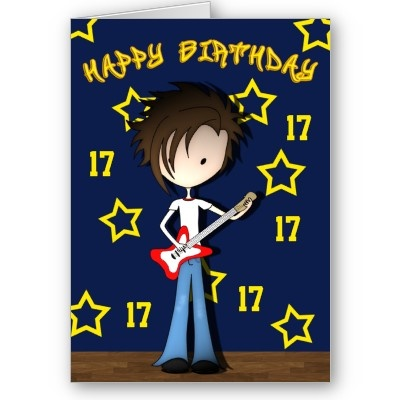 Cartoon Musician Emo Boy with Guitar Birthday Card customize by – Emo Birthday Cards