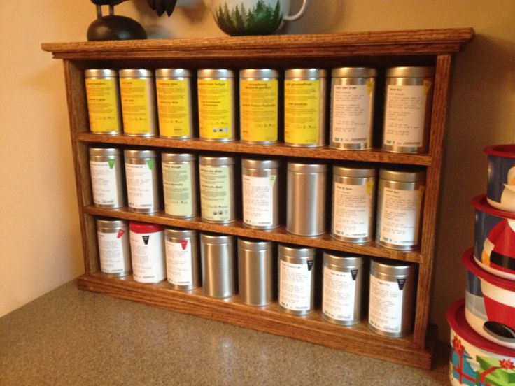 Custom made David's Tea shelf