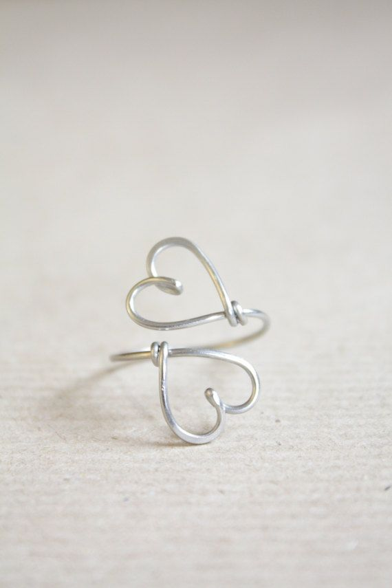 Double Hearts Ring Sterling Silver Wire Heart by DiAndDe on Etsy