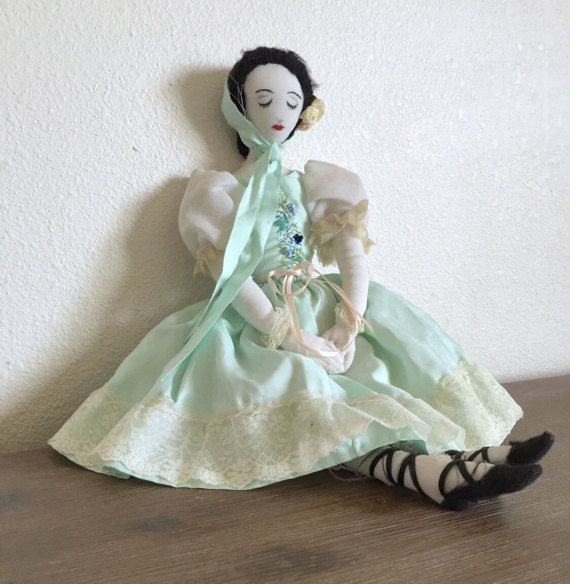 This lovely vintage/antique rag doll was handmade in France sometime in the 1920s or 30s. She is a beautiful example of the primitive, folk art rag dolls of that era featur...