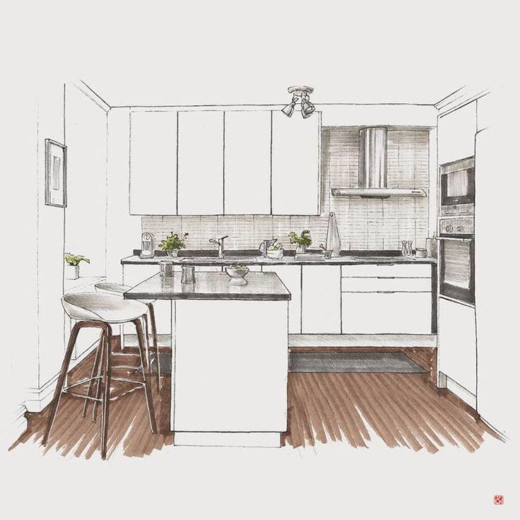 Kitchen Interior Sketch Industrial Design Interior Design Presentation Interior Architecture Design Interior Kitchen Small