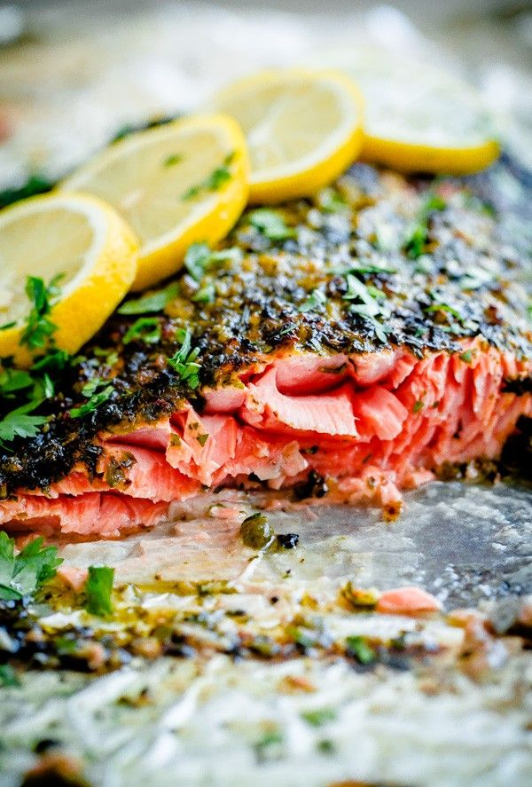 Broiled Salmon with Chermoula Herb Crust. Easy, delicious dinner recipe that can be prepared in prepped and cooked in less than 20 minutes!: