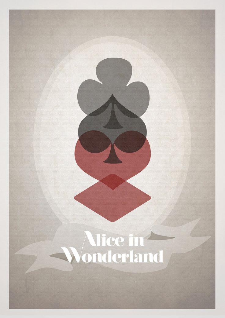 Disney's Alice in Wonderland Minimalist Poster. $21.00, via Etsy. Clubs, spades, hearts and diamonds