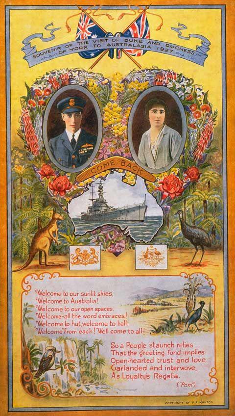 Souvenir poster of the Duke and Duchess of York's Australasia tour, 1927
