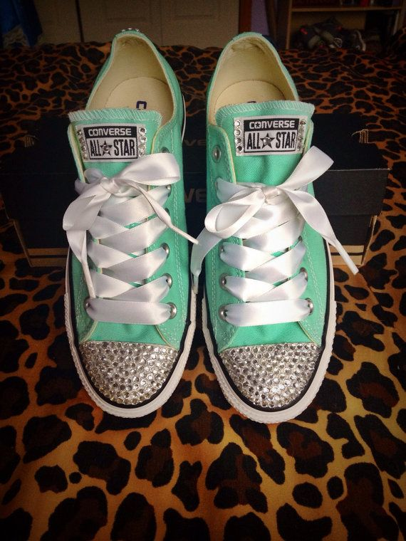 Rhinestone Converse with Ribbon Shoelaces | The ribbon ...