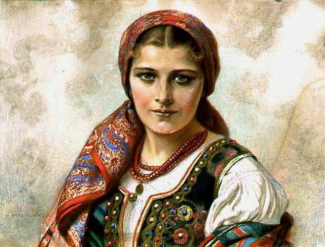 """Piotr Stachiewicz: Dziewczyna w stroju krakowskim"""" (Mädchen in Krakauer Tracht), Pastell auf Karton, um 1900."""