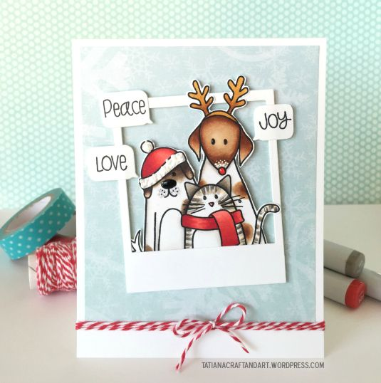 Peace Joy & Love #handmade card. Used #SSSFAVE Furry Christmas Friends stamp set and #mamaelephnat Polaroid Fun dies.
