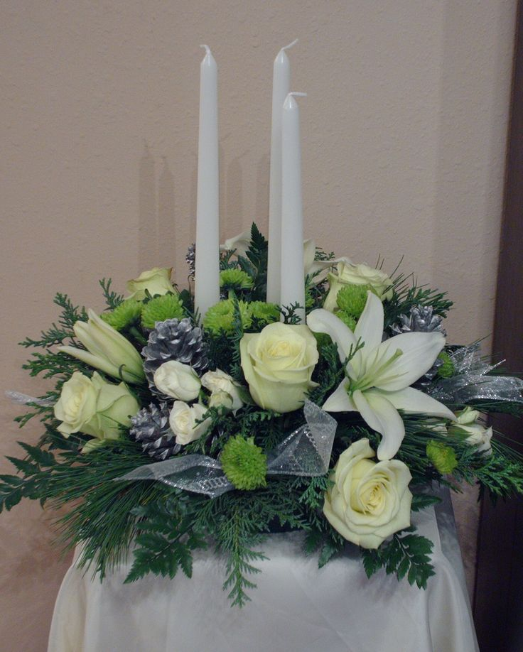 Holiday Centerpieces in white, silver and green