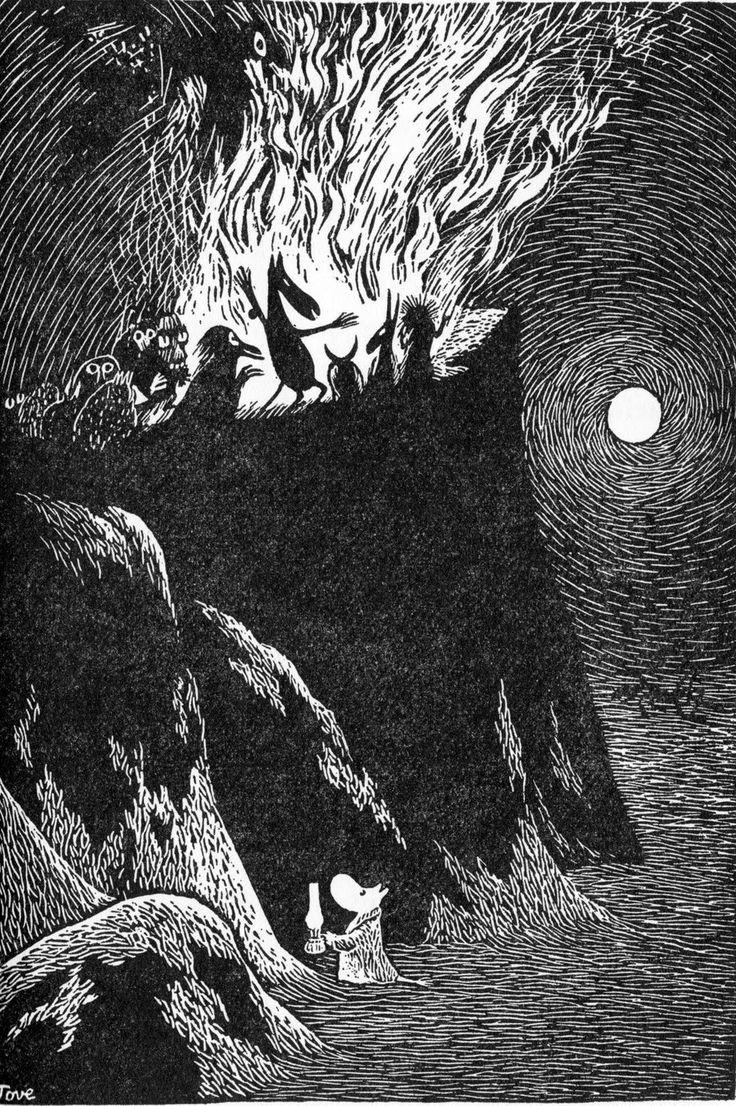 Tove Jansson aka Tove Marika Jansson (Finnish, 1914-2001, b. Helsinki, Finland) - Illustration from Trollvinter (Troll Winter) (Moominland Midwinter), 1957