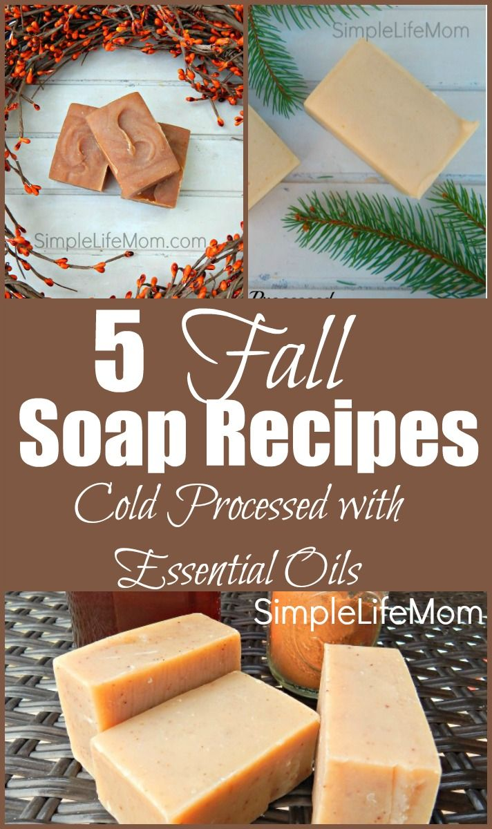 5 Fall Soap Recipes - cold processed soap recipes with tallow or vegan options with palm oil. Essential oil blend ideas for Autumn and Thanksgiving gifts.