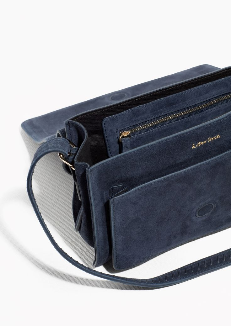 & Other Stories image 2 of Cleancut Suede Shoulder Bag in Navy