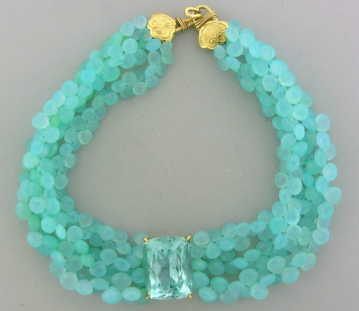 STEPHEN DWECK 18K GOLD PERUVIAN OPAL 107.8ct AQUAMARINE MULTI STRAND NECKLACE .... absolutely love the colour !!! so watery...beautiful...calming...