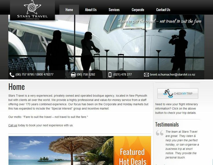 """Stars Travel is a very experienced, privately owned and operated boutique agency, located in New Plymouth but with clients all over the world. We provide a highly professional and value-for-money service from a staff offering over 170 years combined experience. Our focus has been on the Corporate and Holiday markets but this has expanded to include the """"Special Interest"""" group and Incentive market."""
